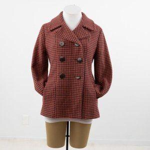 Vintage 10 Wool Houndstooth Tweed Pea Coat Coral